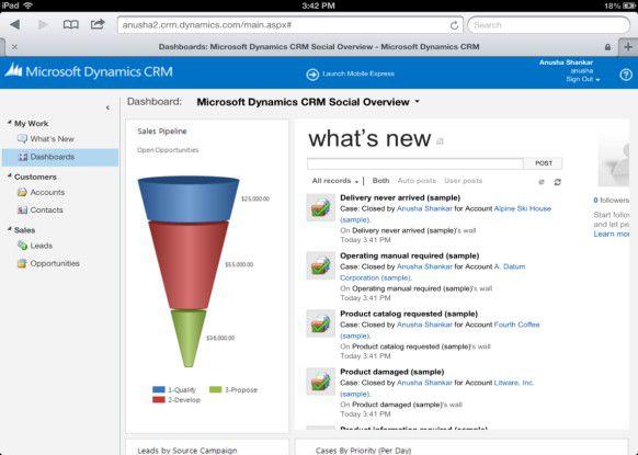 Mit Dynamics CRM for iPad (Bild: Dashboard) hat Microsoft die Lösung etwas Tablet-tauglicher gemacht.