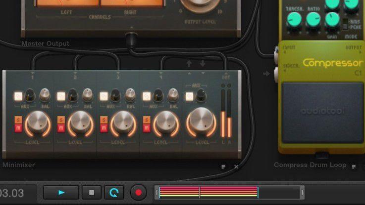 Die Performance, also jede Veränderung an irgendwelchen Knöpfen, lässt sich mit dem roten Record-Knopf aufnehmen.