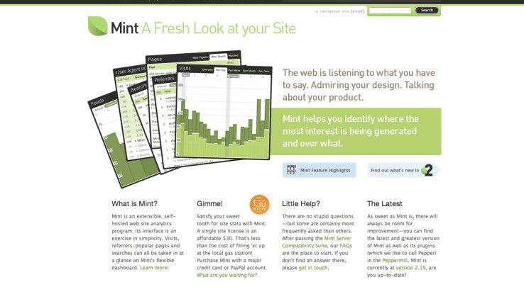 Mint bietet sich als hilfreiche Alternative zum Platzhirsch Google Analytics an.