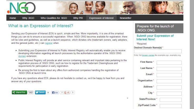 """Auf der PIR-Website können Interessierte eine """"Expression of Interest"""" abgeben, dass sie eine .ngo-Domain registrieren möchten."""