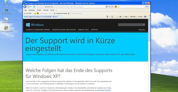 Screenshot: Microsoft Windows XP - Ende des Supports.