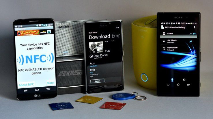 NFC-Tags: NFC dient neben dem kontaktlosen Bezahlen auch der bedienerfreundlichen One-Touch-Kopplung von NFC-Handys mit NCF-Aufklebern.