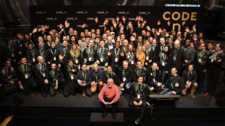 Die Halle 16 auf der CeBIT mit den Startups des Gründerwettbewerbs Code_n.