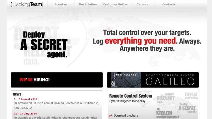 """Der italienische Hersteller HackingTeam bewirbt """"Galileo"""" auf seiner Website offensiv."""