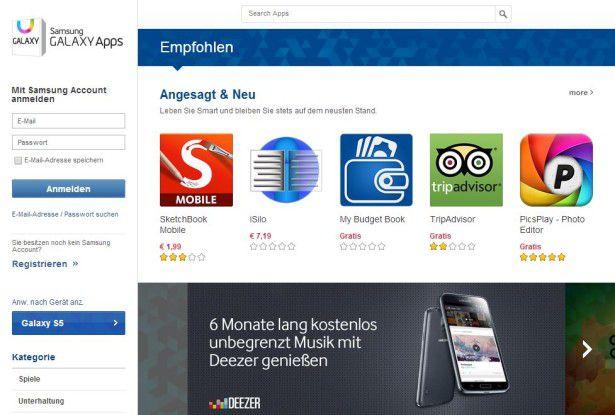 Samsungs Galaxy-Apps-Store ist auch im Web zu finden