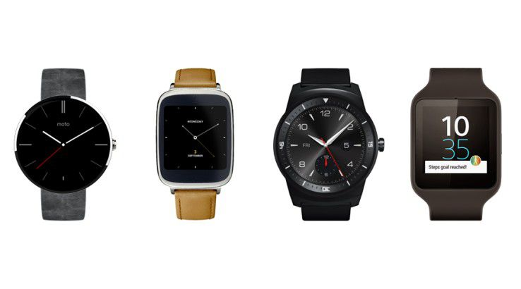 Smartwatches mit Android Wear: Moto 360, Asus Zen Watch, LG G Watch R, Sony Smartwatch 3