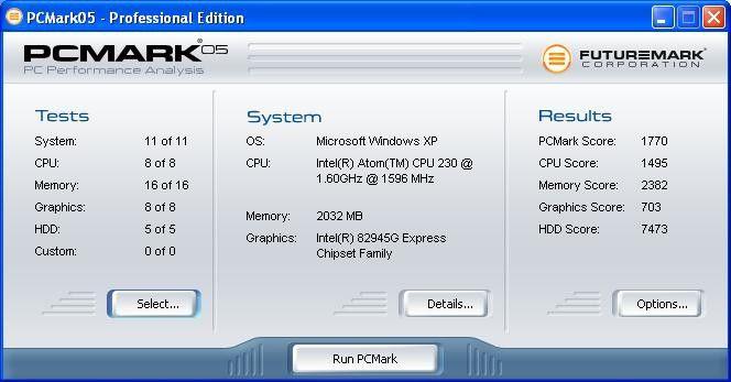 Arlt Individual PC Intel Atom 230: gute Ergebnisse im HDD-Benchmark unter PC Mark 05