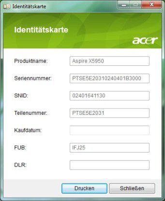 Acer Aspire X5950: Identitätskarte