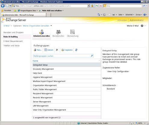 Oberflächlich: Die rollenbasierten Berechtigungen lassen sich mit Service Pack 1 für Exchange Server 2010 auch in der Exchange-Systemsteuerung verwalten.
