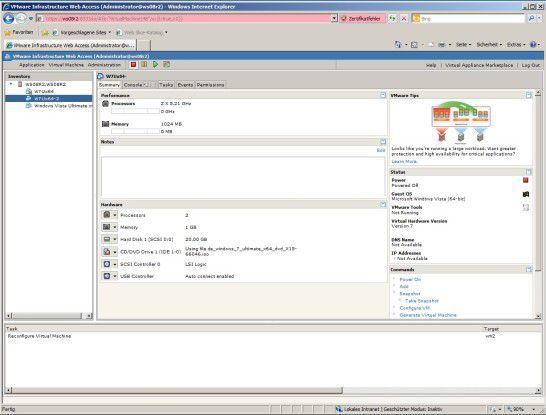 VMware Server 2.0: VM-Namen erfolgreich geändert.