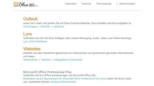 Auf einen Blick: Die Office-365-Verwaltungsoberfläche in der Übersicht.