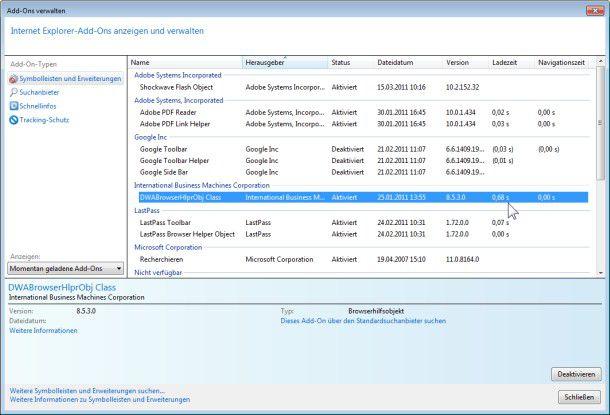 Add-on-Verwaltung: Der IE9 liefert Ihnen hier Informationen zu den Erweiterungen.