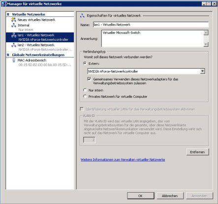 Über den Manager für virtuelle Netzwerke verwalten Administratoren ebendiese in Hyper-V.