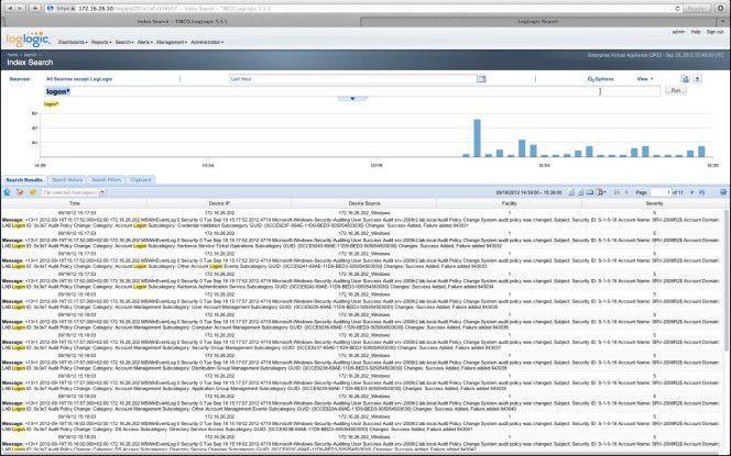 In der Praxis: Eine Log-Management-Lösung ermöglicht auch eine Google-ähnliche Suche durch alle IT-Daten von unterschiedlichsten Quellen inklusive Timeline-Anzeige.