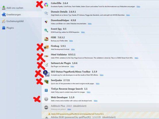 F?r Firefox gibt es eine Reihe von Webmastertools in Form von Addons