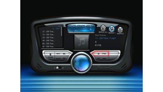 Die Benutzeroberfläche des Xtreamer Sidewinder 2 (im Bild die MP3-Befehlszentrale) ist futuristisch gestaltet.