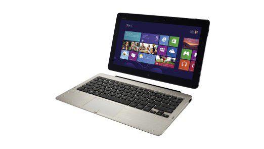 In einer mitgelieferten Ansteck-Tastatur wird das Tablet zum Notebook wie das Asus Vivo Tab