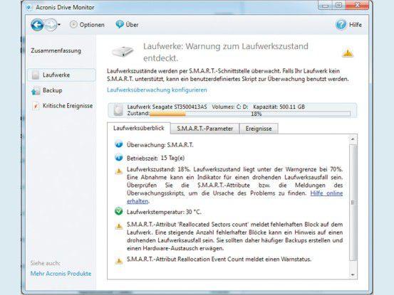 Acronis Drive Monitor liest die SMART-Parameter der Festplatte aus und schlägt beim Überschreiten von Grenzwerten Alarm.
