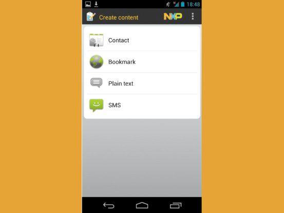 Mit dem Tagwriter können Sie Kontakte, Lesezeichen, Texte und SMS auf die Tags übertragen.