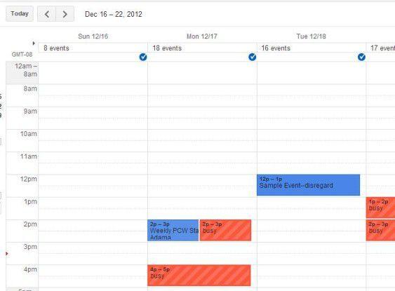 Sie sehen es im eigenen Kalender, wann jemand beschäftigt ist.