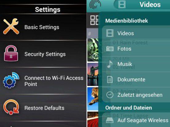 Beispiele für Apps von WLAN-Festplatten: Transcend Store Jet Cloud und Seagate Media (rechts).