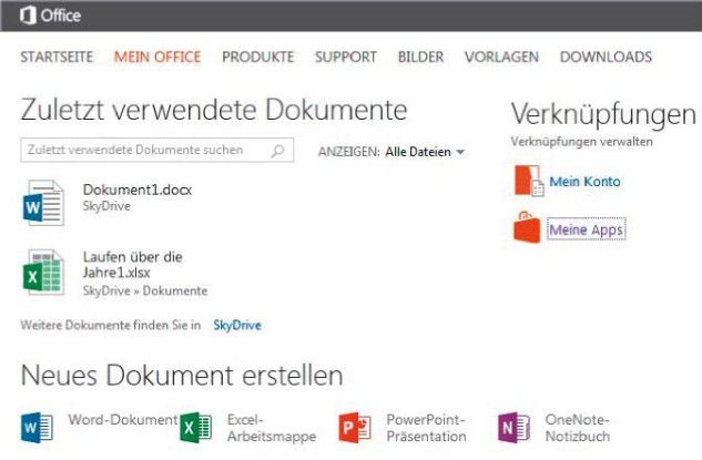 Dokumente im Online-Office (im Bild die Web Apps von Microsoft) stellt man anderen über die Freigabefunktion im Kontextmenü der Dateien zum Bearbeiten zur Verfügung.