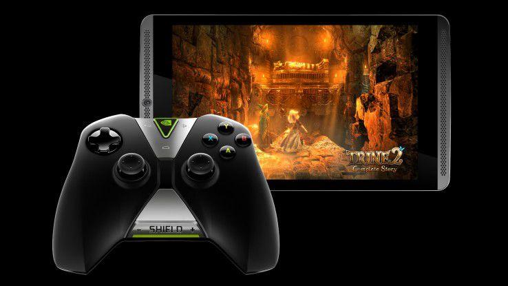 Das Shield Tablet und und der drahtlose Controller.