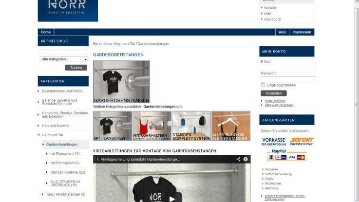 Im Endkundenshop von Sascha Hörr Edelstahlhandel wird im Video die Montage einer Kleiderstange erklärt.