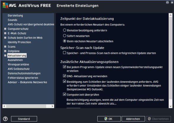 Auch bei kostenlosen Virenscannern können Sie umfassende Sicherheits- und Aktualisierungseinstellungen vornehmen.