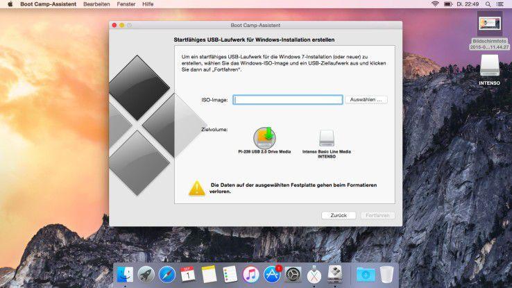Boot Camp: Das Toll kann über einen Assistenten die interne Festplatte von Mac OS X partitionieren, die ISO-Datei von Windows 10 auf einen USB-Stick übertragen und die Installation steuern. Das macht es Anfängern leichter Windows 10 zusammen mit Mac OS X auf einem Rechner zu betreiben.