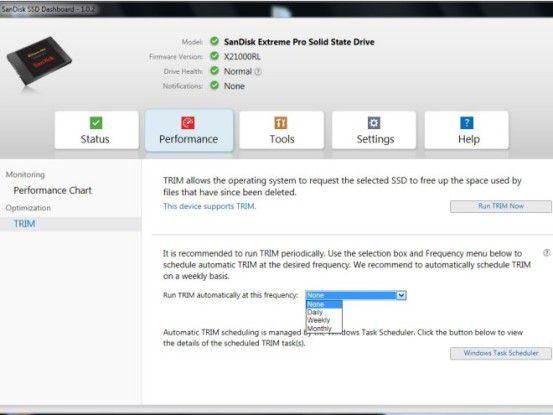 Im Performance-Menü des SSD Dashboard lässt sich sogar die TRIM-Funktion individuell konfigurieren.