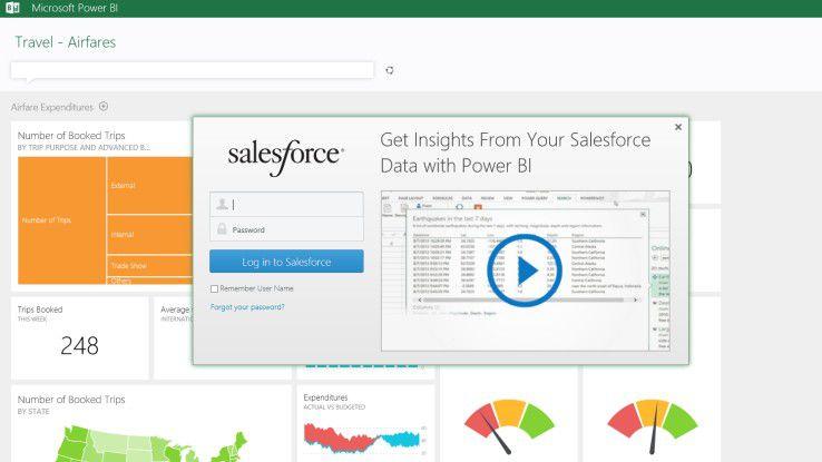 Screenshot auf die Salesforce- und Microsoft BI-Integration.