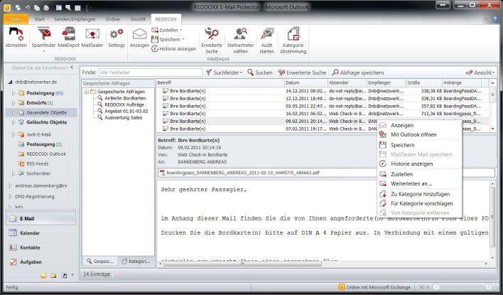 Per Outlook auf E-Mail-Archiv von Reddoxx zugreifen.