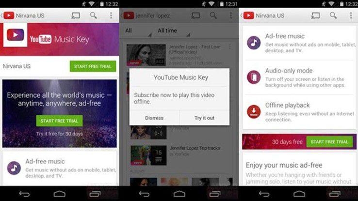 """""""Youtube Music Key"""" kommt zunächst nur in den USA."""