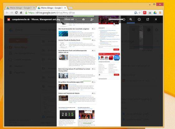 """Eine ganze Seite per Klick auf dem Cloud-Speicher von Google Drive ablegen. Das gelingt mit Hilfe der Erweiterung """"In Google Drive abspeichern""""."""