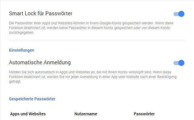 Eine Übersicht aller gespeicherten Anmeldedaten findet sich unter passwords.google.com.