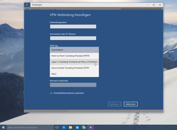 VPN-Verbindungen unter Windows 10: Das kommende Client-System von Microsoft kann mit verschiedenen VPN-Protokollen zusammenarbeiten.