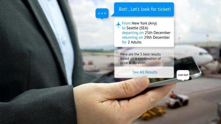 Mit aktuellen Chatbots kann man bereits im Messenger Flugtickets buchen.
