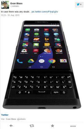 In seinem Tweet @evleaks zeigt Evan Blass angeblich den Blackberry-Slider Venice der mit Android-Betriebssystem im November auf den Markt kommen soll.