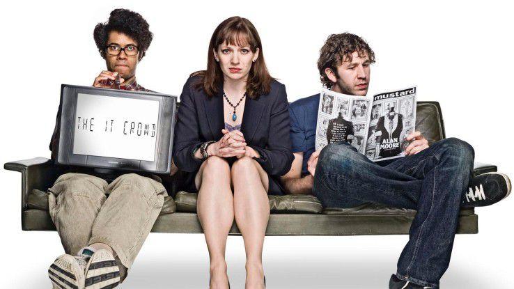 "Richard Ayoade, Katherine Parkinson und Chris O'Dowd (v.l.n.r.) machen in ""The IT Crowd"" klar, dass (schwarzer) Humor und IT-Welt sehr wohl zusammen gehen."