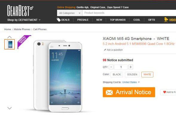 Bereits auf der Website von GearBest: Xiaomi Mi5