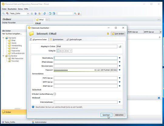Das Einrichten der Datenbank bei Passwort Safe 7.