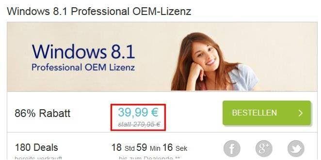 Immer wieder gibt es zeitlich begrenzte Angebote im Internet, wo eine der früheren Windows-Version in der Pro-Variante vergleichsweise günstig angeboten wird.