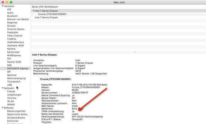 Der System Profile zeigt, ob TRIM aktiv ist.