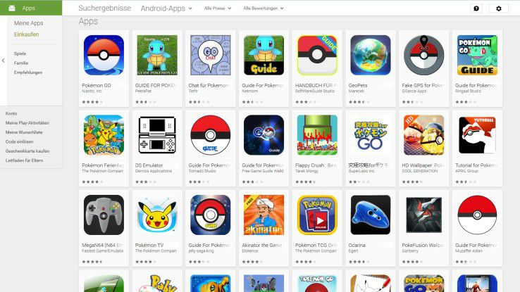 """Pokémon Go ist inzwischen auch im deutschen Google Play Store verfügbar. Neben der offiziellen App finden sich hier auch zahlreiche Pokémon-""""Guides"""", -""""GPS Apps"""" und -""""Tutorials""""."""