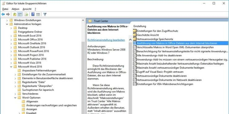 Für die Proversionen von Windows und Office 2016 gibt es Vorlagen, die die Ausführung von Makros in Officedateien strikt verbieten. So haben es Erpresservieren wie Locky deutlich schwerer, sich auf den PC zu schmuggeln.