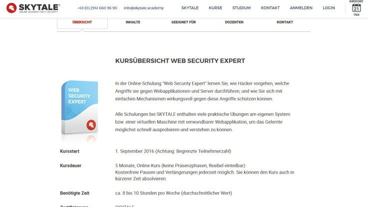 """Auf der Skytale-Website können sich Interessierte für den """"Web Security Expert""""-Kurs anmelden."""
