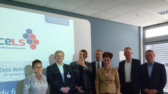 Die Teilnehmer der CeLS-Beraitssitzung: v .l.n.r. Isabell Keck (IDG Business Media GmbH), Jürgen Renfer (KUVB), Günter Hilger (GECO AG), Jörg Öynhausen (Bechtle Onsite Services GmbH), Conny Zitelli (GECO Systems GmbH), Prof. Dr. Horst Tisson (Tisson & Company GmbH), Dr. Carsten Witt (akquinet AG)
