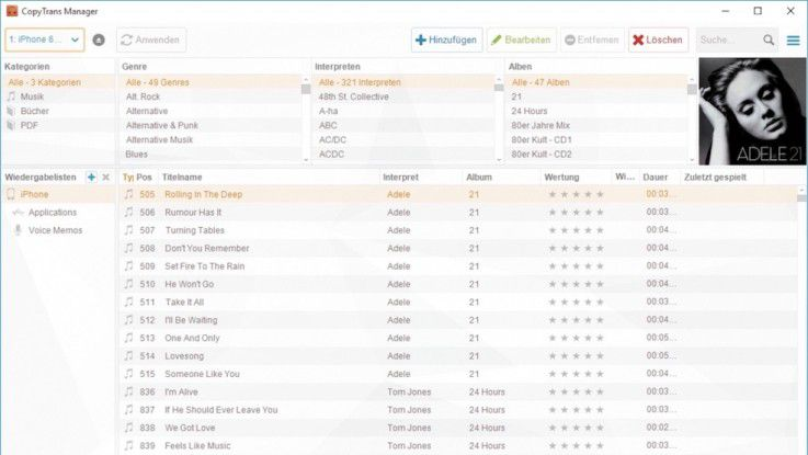 Mit dem CopyTrans Manager kann Ihr iPod oder iPhone von jedem PC aus verwaltet werden.