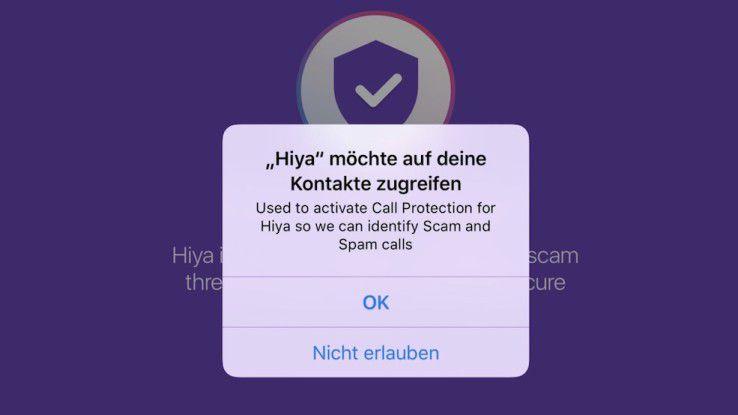 Die App benötigt Zugriff auf die Kontakte.